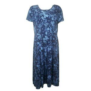 WOMAN WITHIN Blue Floral Dress Size 14/16